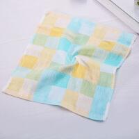家用棉纱洗脸毛巾儿童口水巾小方巾婴儿毛巾洗脸帕手绢面巾 乳白色 小号绿色