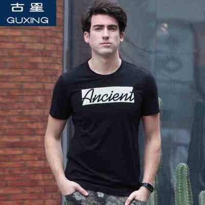 古星夏季新款男士运动短袖T恤休闲圆领修身半袖潮男装个性印花棉