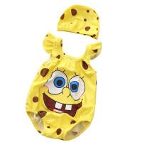 儿童连体泳衣小童小孩男女宝宝温泉可爱儿童男女孩泳装 咖啡色 黄海绵象形连体