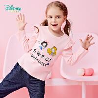 迪士尼Disney童装女童t恤春秋新品纯棉衣服宝宝肩开扣圆领拼接上衣休闲打底衫