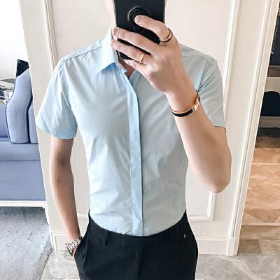 夏季修身衬衣男士韩版商务衣服寸衫纯色短袖衬衫男装潮6534110