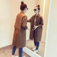 2018秋季新款韩版纯色立领长袖小个子外套女装长款过膝风衣潮