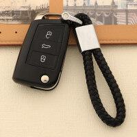 古宾 2017款大众新帕萨特钥匙包 全新帕萨特汽车钥匙套 软胶保护壳男女 钢琴黑 钥匙套+黑色编织绳