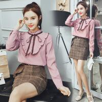 雪纺衬衫女长袖2018春装新款韩范百搭学生立领上衣韩版衬衣
