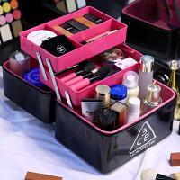 化妆包大容量双层大号护肤品收纳盒韩国简约多便携化妆箱手提 黑色 塑盒三层