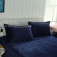 珊瑚绒枕套一对简约纯色法莱绒48*74cm素色法兰绒单人枕头套 48cmX74cm
