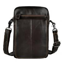 头层油腊皮时尚 复古男士潮酷手机相机户外腰包旅行用单肩包胸包 深咖啡