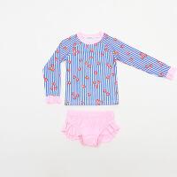 2018新款 韩版儿童泳衣 女童可爱分体温泉游泳衣 厂家直销 蓝条草莓