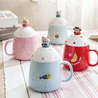 创意可爱卡通立体马克杯简约陶瓷杯带盖勺儿童水杯情侣家用咖啡杯