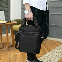 单肩斜挎包男士商务公文包手提包寸A4电脑包背包 黑色