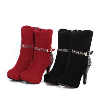 2018冬季新款高跟中筒磨砂水钻皮鞋女鞋女式鞋子冬靴女士靴子棉鞋软底 黑色 冬季绒里