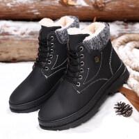 冬季马丁靴男保暖加绒高帮棉鞋2018新款男士中筒雪地靴防水短靴子
