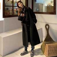 2020年新款韩版中长款秋装加厚大衣女黑暗系赫本风毛呢外套风衣潮