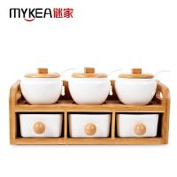 【当当自营】谜家 陶瓷家用调料盒盐罐糖罐调味罐调味组合套装厨房用品双层抽屉六件套 白色