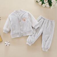 婴儿保暖内衣套装衣服男女宝宝春秋夹棉0-1岁6-12个月3秋冬季