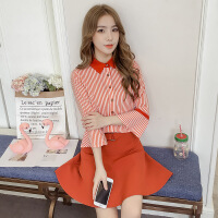 衬衫套装裙女2018新款春装韩版时髦气质上衣配a字裙子两件套 图片色