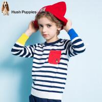 【3件3折:99元】暇步士童装春季新款男童线衣时尚撞色条纹套头线衣儿童针织衫
