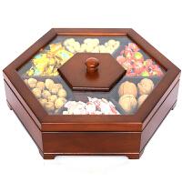 实木糖果盒 瓜子盘新年干果盘婚庆品 创意环保零食点心喜糖盒 胡桃木色不带印花33厘米