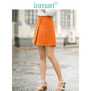 茵曼2018夏装新款高腰系绳绑带显瘦微弹半身短裙女【F1882112178】