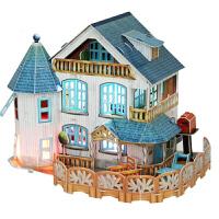 3D立体拼图diy小屋房子拼图模型儿童玩具手工生日礼物 P635田园别墅 (带3个灯)