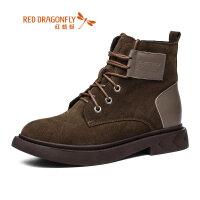 【开学季立减150】红蜻蜓马丁靴女潮鞋2019新款冬季短靴英伦风加绒工装鞋女