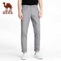 camel 骆驼男装休闲裤男常规直筒中腰纯棉纯色商务长裤透气时尚宽松裤子