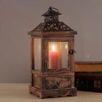 欧式复古创意木制烛台蜡烛工艺摆件家具客厅玄关样板房摆设婚庆
