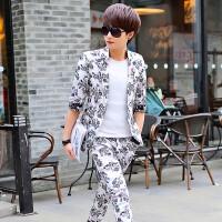 夏天短袖西服套装修身韩版花西服三件套个性潮流新款男士小西装男