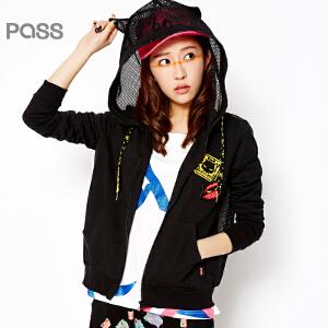 PASS原创潮牌春装新款 插兜带帽白色潮人抽绳帽子拉链长袖短外套女6611411005