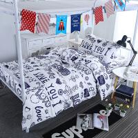 ???夏秋简约大学生宿舍三件套单人床上用品寝室套件1M上下铺床单被套