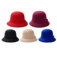户外女遮阳毡帽子 秋冬天毛呢盆帽  英伦圆顶礼帽  渔夫帽
