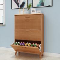 鞋柜家用门口大容量超薄翻斗鞋架17cm储物柜实木色简约现代玄关柜