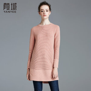 颜域品牌女装2017秋冬新款长袖套头毛衣半高领上衣打底针织衫女