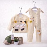 婴儿衣服薄款服装两件套新生儿秋冬季套装男女宝宝背带裤