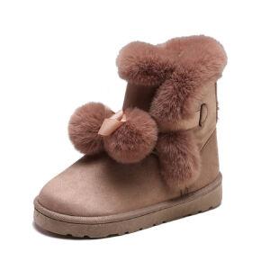 WARORWAR新品YM153-802冬季欧美磨砂反绒平底舒适毛球兔毛女士雪地靴