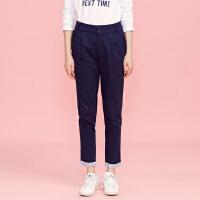 【满1000减750】美特斯邦威休闲裤女装春秋季翻边长裤子248822