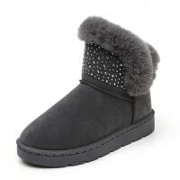 尚恩麦雪地靴女士短筒平底低帮韩版百搭学生冬季加绒加厚2018新款棉鞋潮