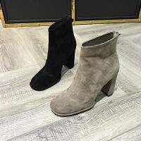 2017冬季新款女鞋羊�S皮加绒圆头粗跟短筒靴马丁靴棉靴