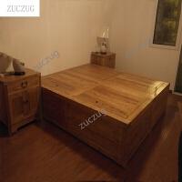 zuczugZUCZUG双人床实木床高箱储物床箱床实木地台老榆木床实木家具 透明 1800mm*2000mm-箱框结构