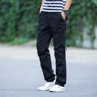 夏装青年运动裤士大码宽松工装裤直筒薄款户外多口袋休闲裤子