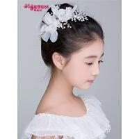 花童礼服配饰女孩发夹女童头饰花环头花白色儿童表演发饰饰品