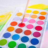 固体水彩颜料36色套装儿童无毒可水洗水彩画笔纸分装初学者水粉饼