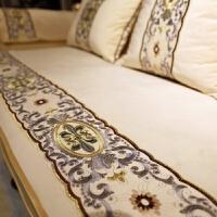 纯色欧式沙发垫四季通用防滑布艺坐垫客厅组合套罩巾定做1