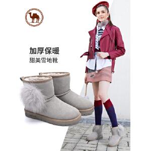 骆驼牌新款雪地靴女加厚羊毛磨砂棉鞋女靴子狐狸毛短靴潮女