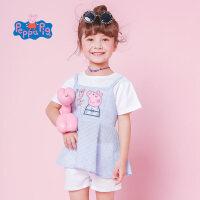 【领券3件1.5折】小猪佩奇童装女童夏装2019春夏新品假两件裙摆T恤上衣
