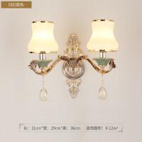欧式大气现代简约卧室床头灯客厅背景墙过道走廊双头水晶壁灯