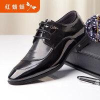 【红蜻蜓618开门红、领�患�100】红蜻蜓商务正装鞋秋季新品男士真皮透气商务鞋亮漆皮鞋子