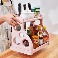 厨房置物架用品收纳神器 落地多层省空间置物架 多功能调味料架菜刀架厨房收纳架厨具整理架 粉色