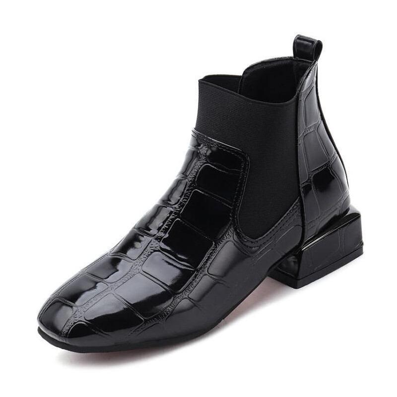 WARORWAR 2019新品YM45-7068Q冬季韩版漆皮低跟鞋女鞋潮流时尚潮鞋百搭潮牌靴子马丁靴短靴