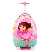 儿童行李箱男女小学生卡通蛋壳书包16寸1-3年级6-12岁行李旅行箱 粉红色 朵拉儿童拉杆书包